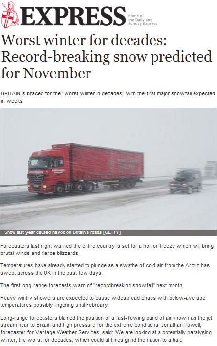 Record-breaking snow predicted for November